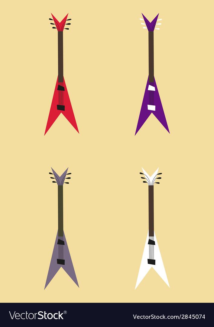 Electric guitar sign set guitar design colorful vector image