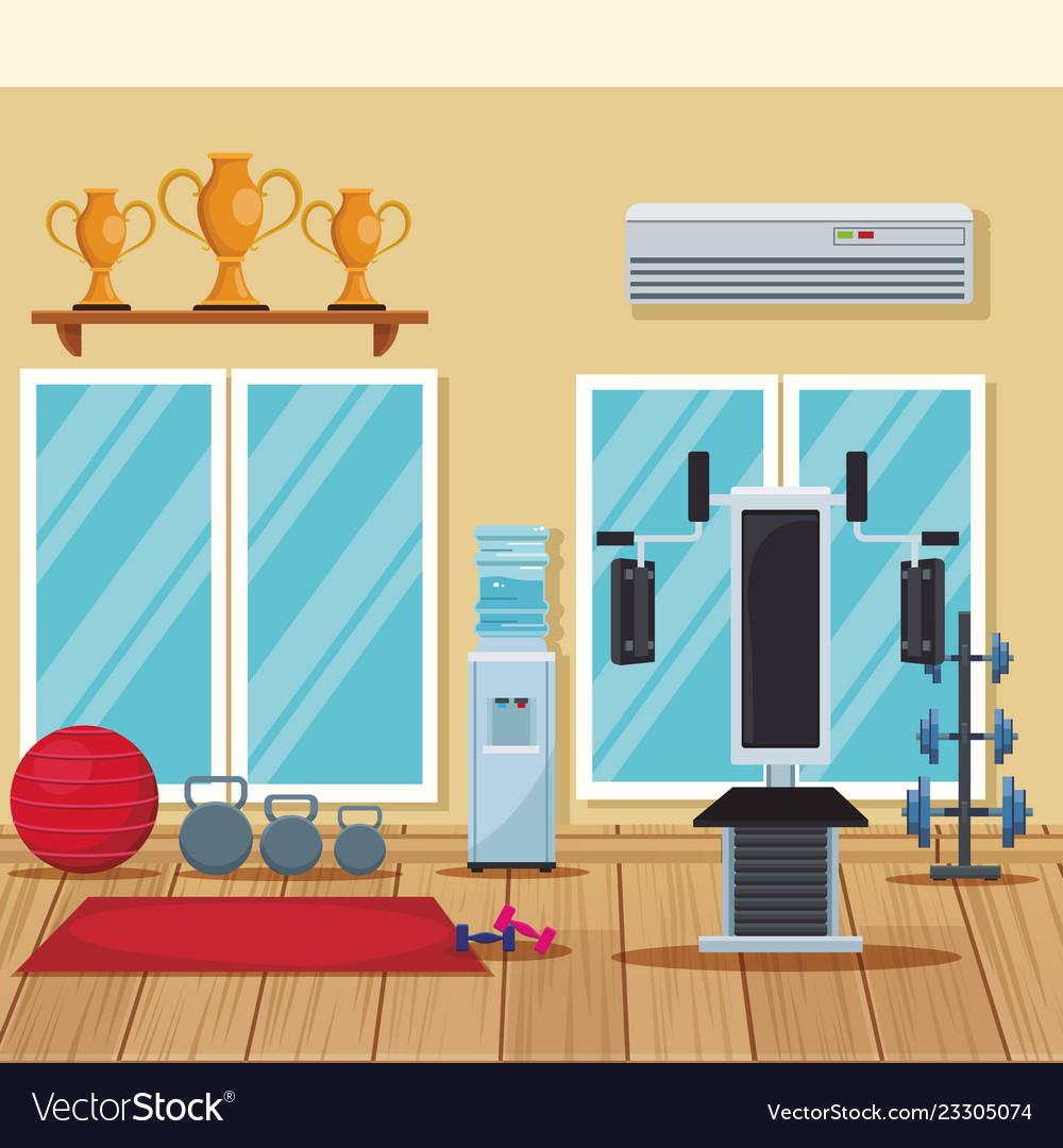 Home gym concept vector flat illustration vector illustration of