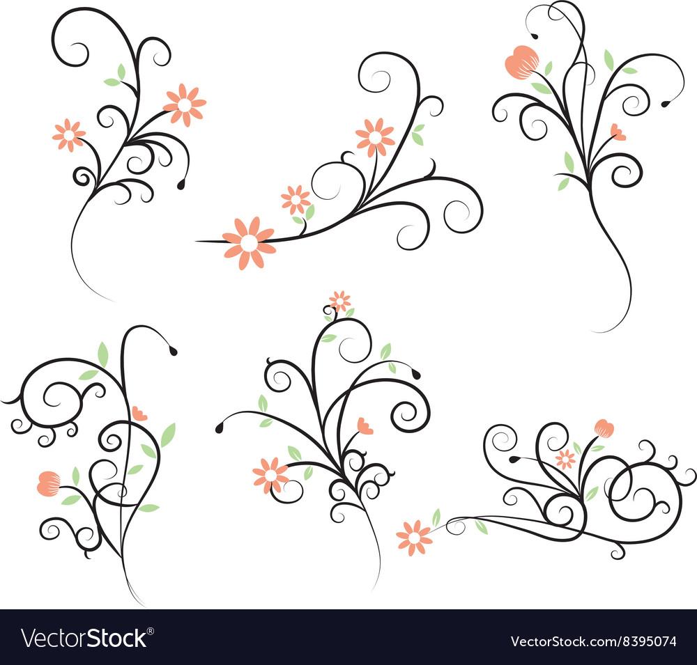 Flower Flourish Swirl elements