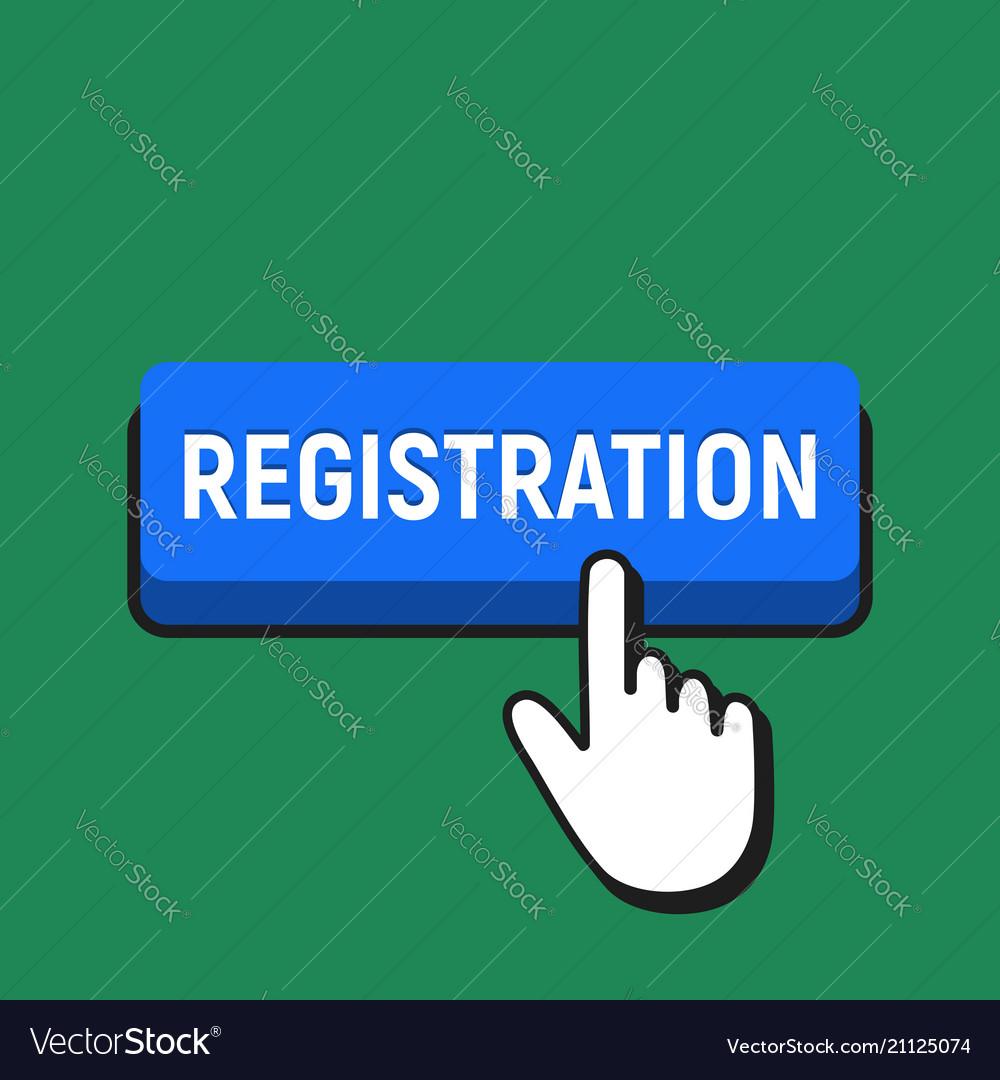 Hand mouse cursor clicks the registration button