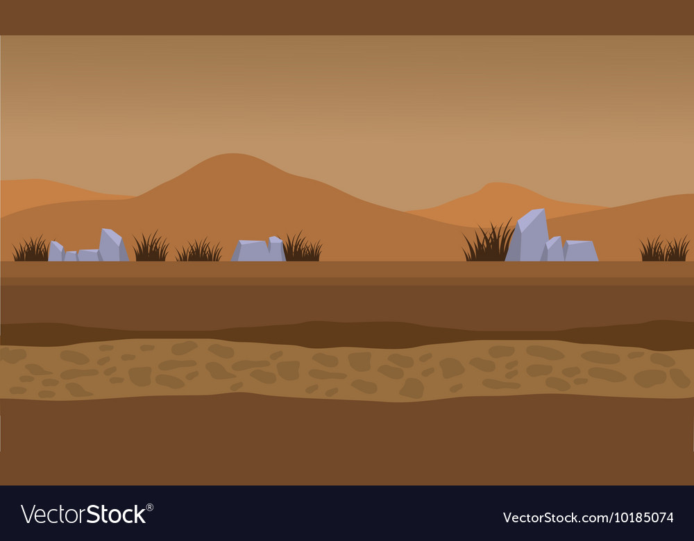 Landscape fields and mountain for backgrounds game vector image
