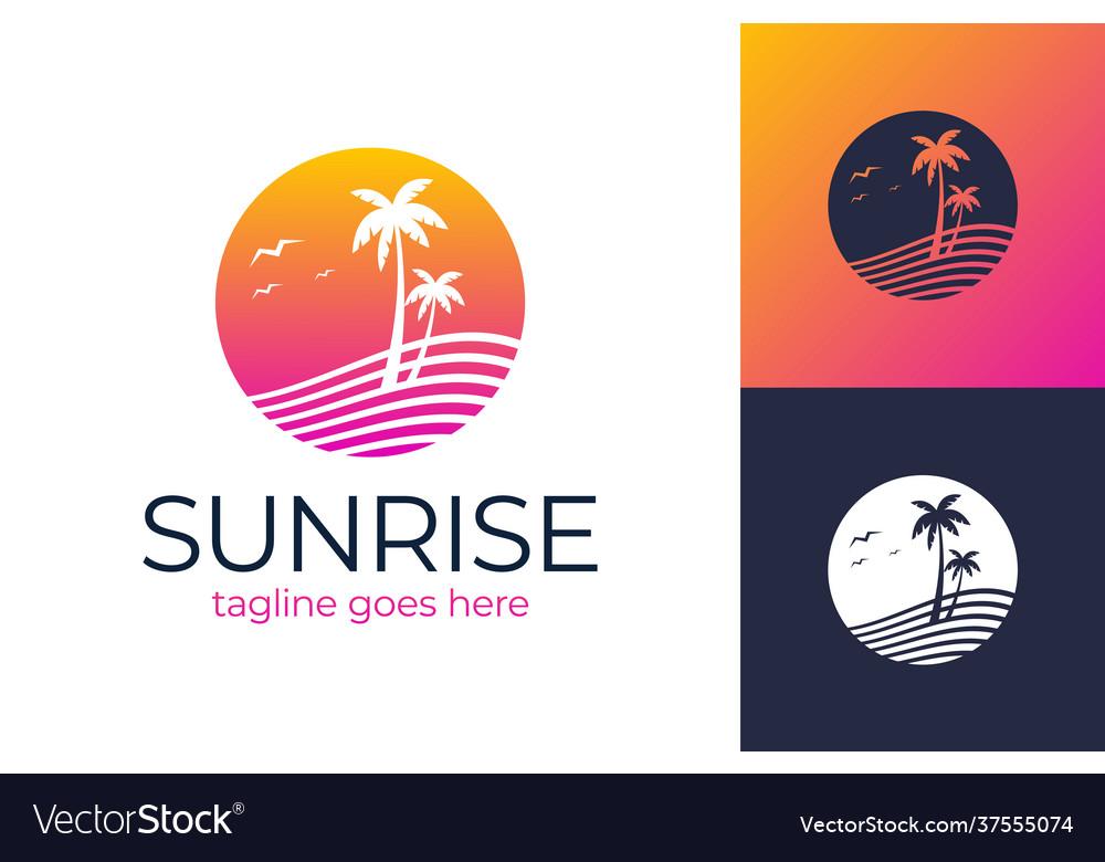 Sunset travel logo summer icons on holiday summer