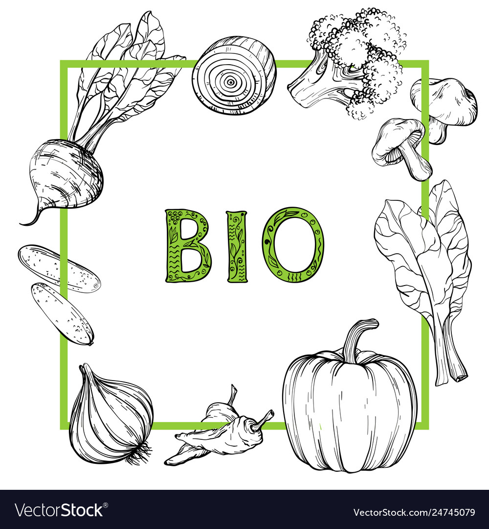Background with hand drawn vegetables black and