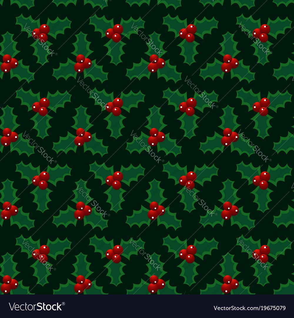 Christmas red green mistletoe seamless pattern
