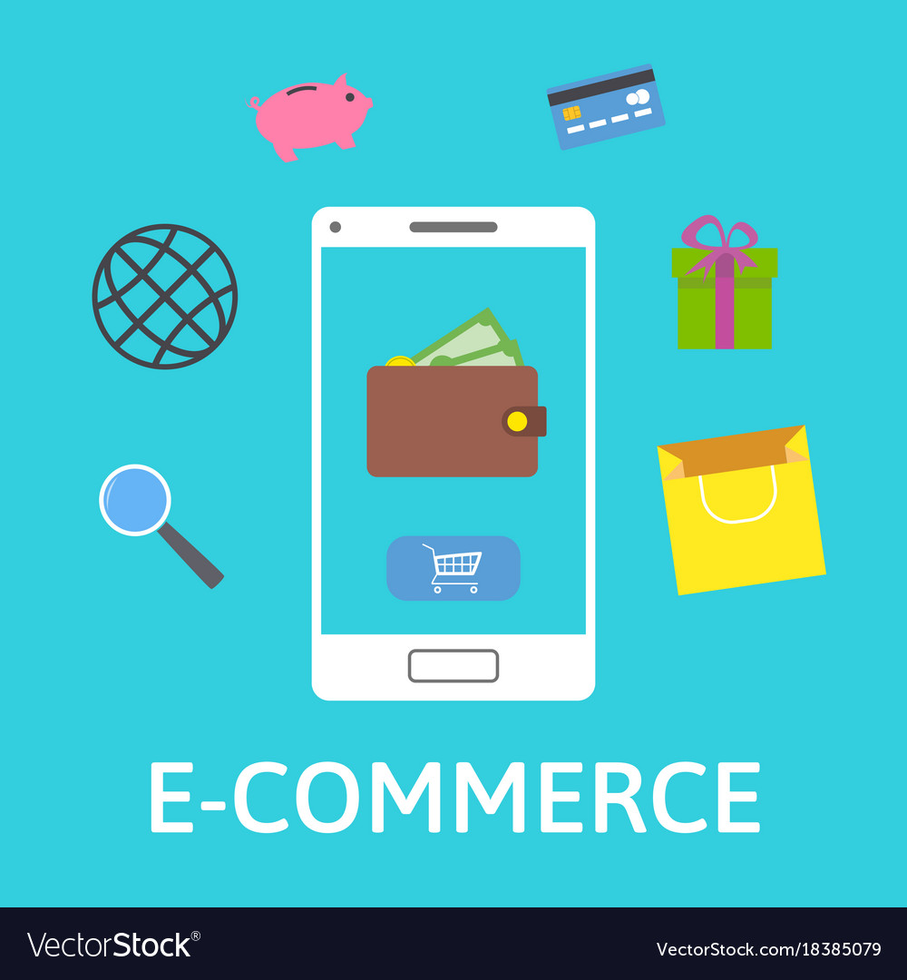 E-commerce concept online wallet smartphone with