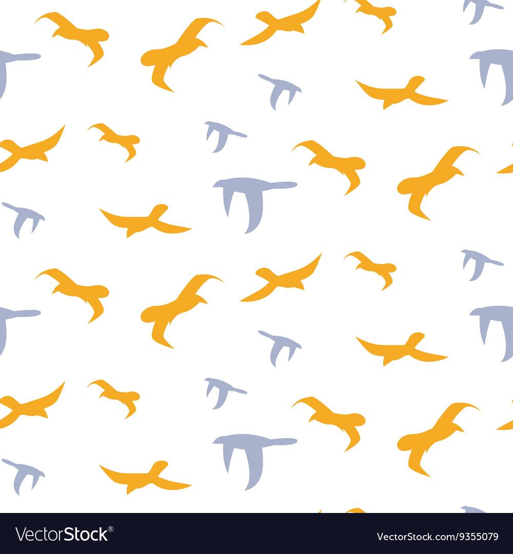 Flock of birds seamless pattern vector image