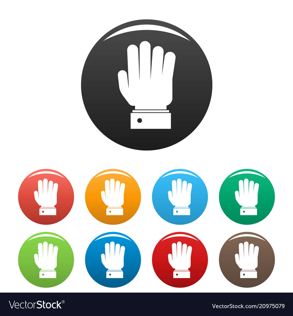 Hand stop icons set color