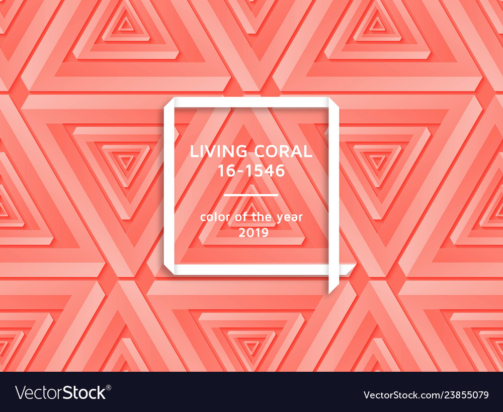 Living coral trendy background with impossible