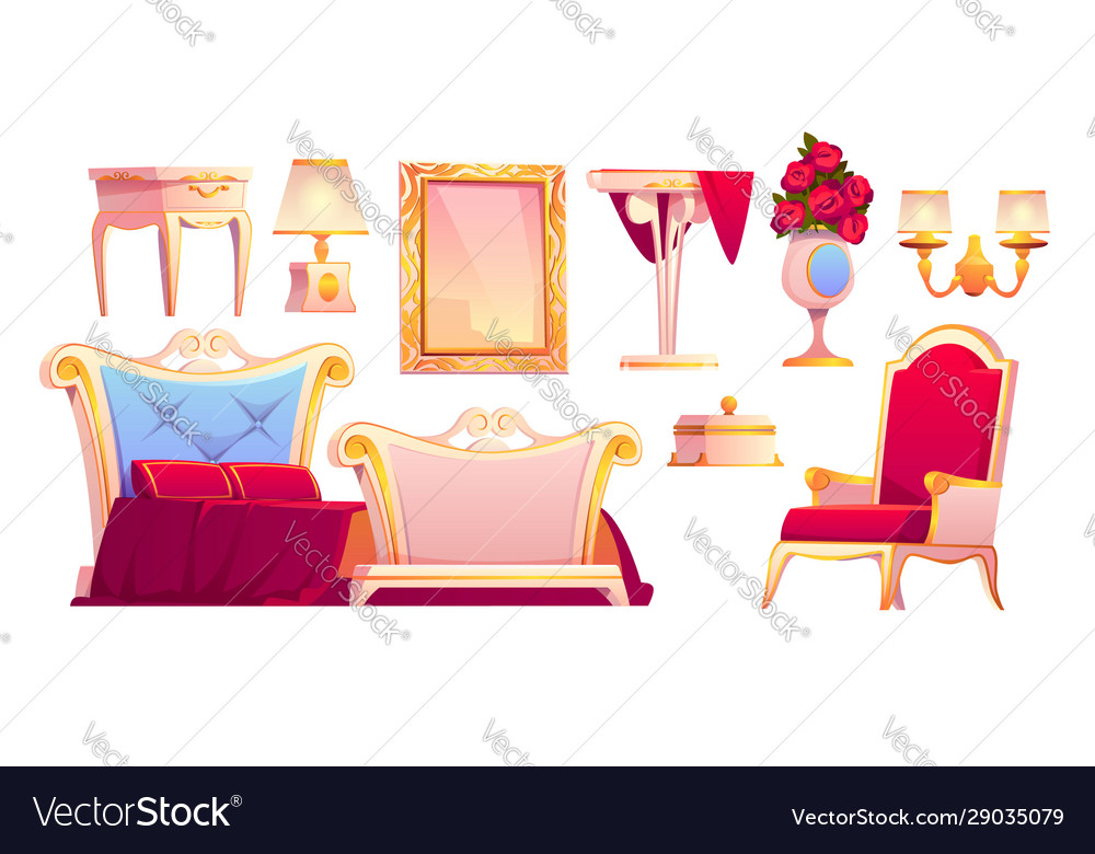 Luxury gold furniture for royal bedroom