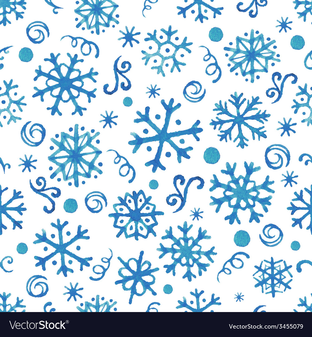 Seamless pattern with hand drawn watercolor snowfl