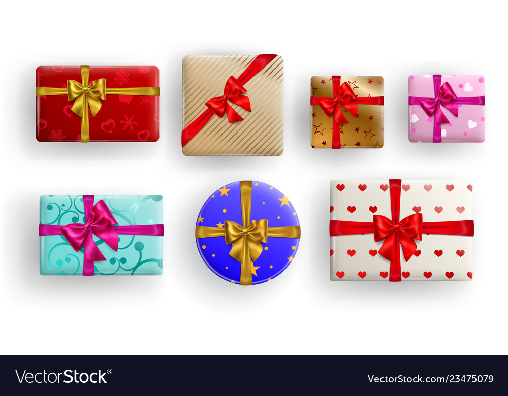 Set of gift boxes with bows