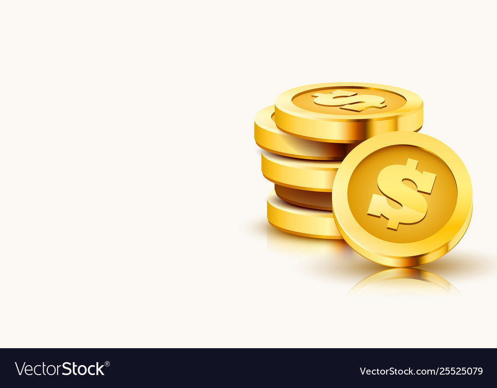 Stack golden dollar coins isolated on white