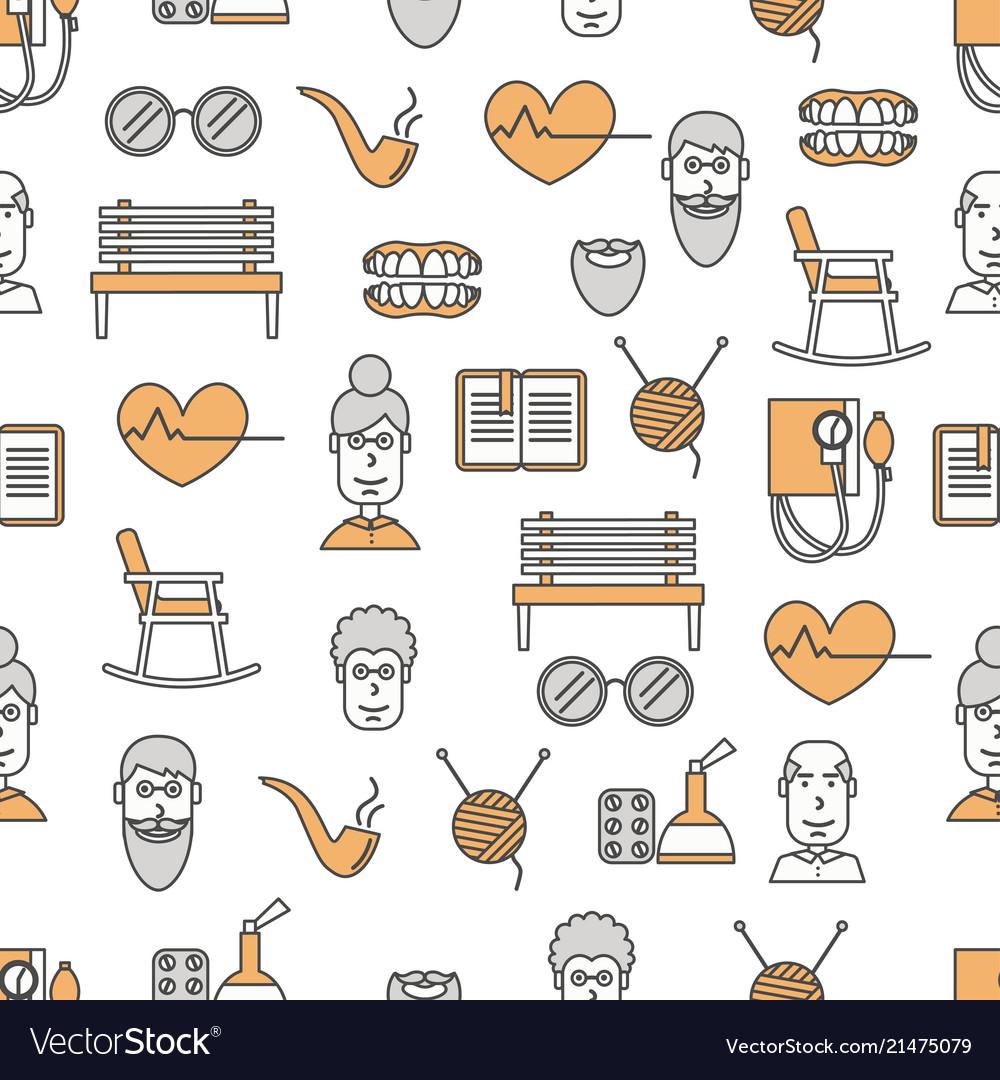 Thin line art aged people seamless pattern