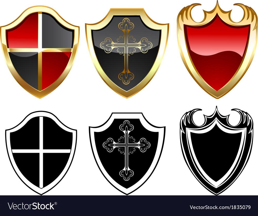 Three gold shield vector image