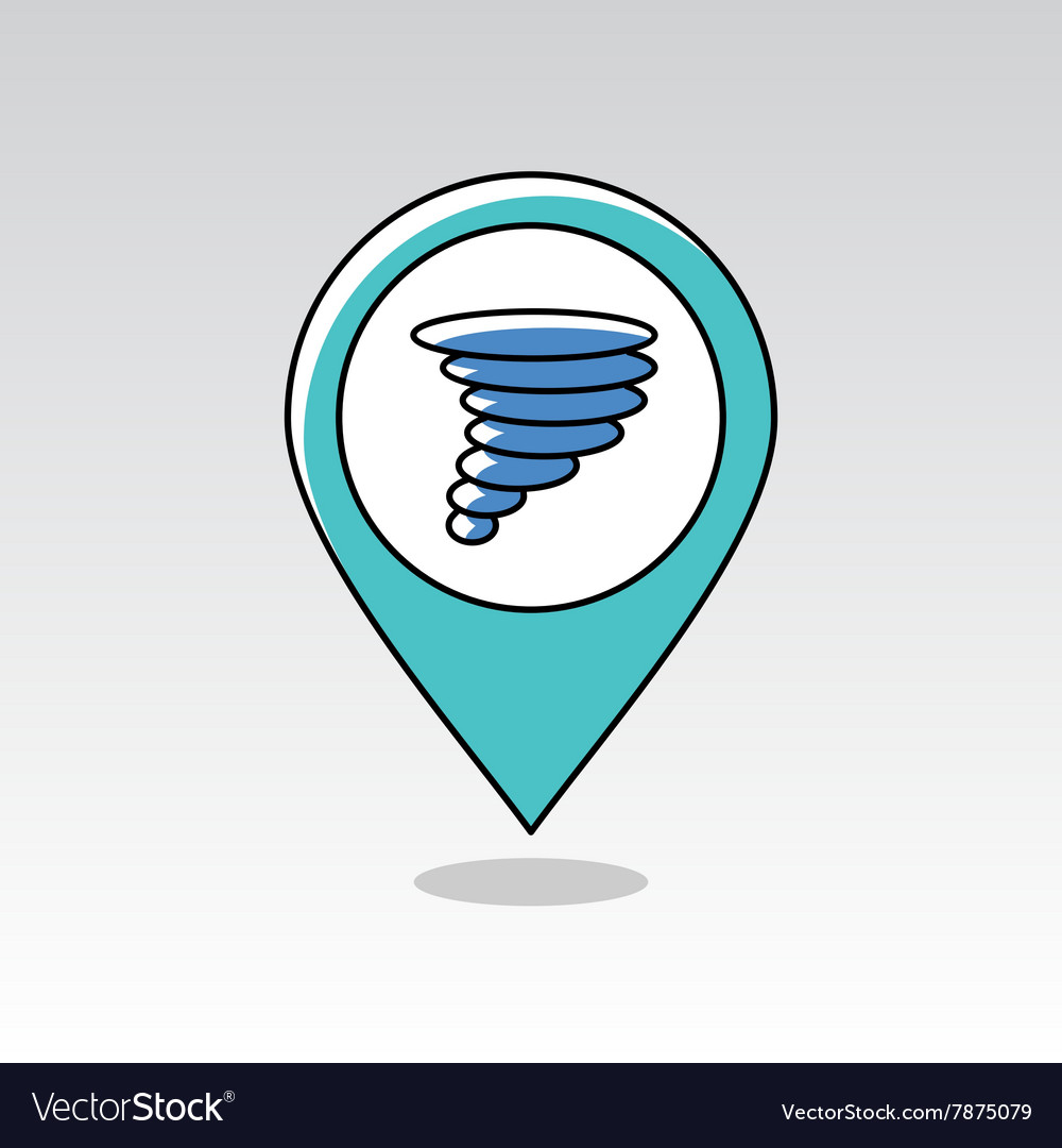 Tornado Symbol On Weather Map.Tornado Whirlwind Pin Map Icon Weather Royalty Free Vector