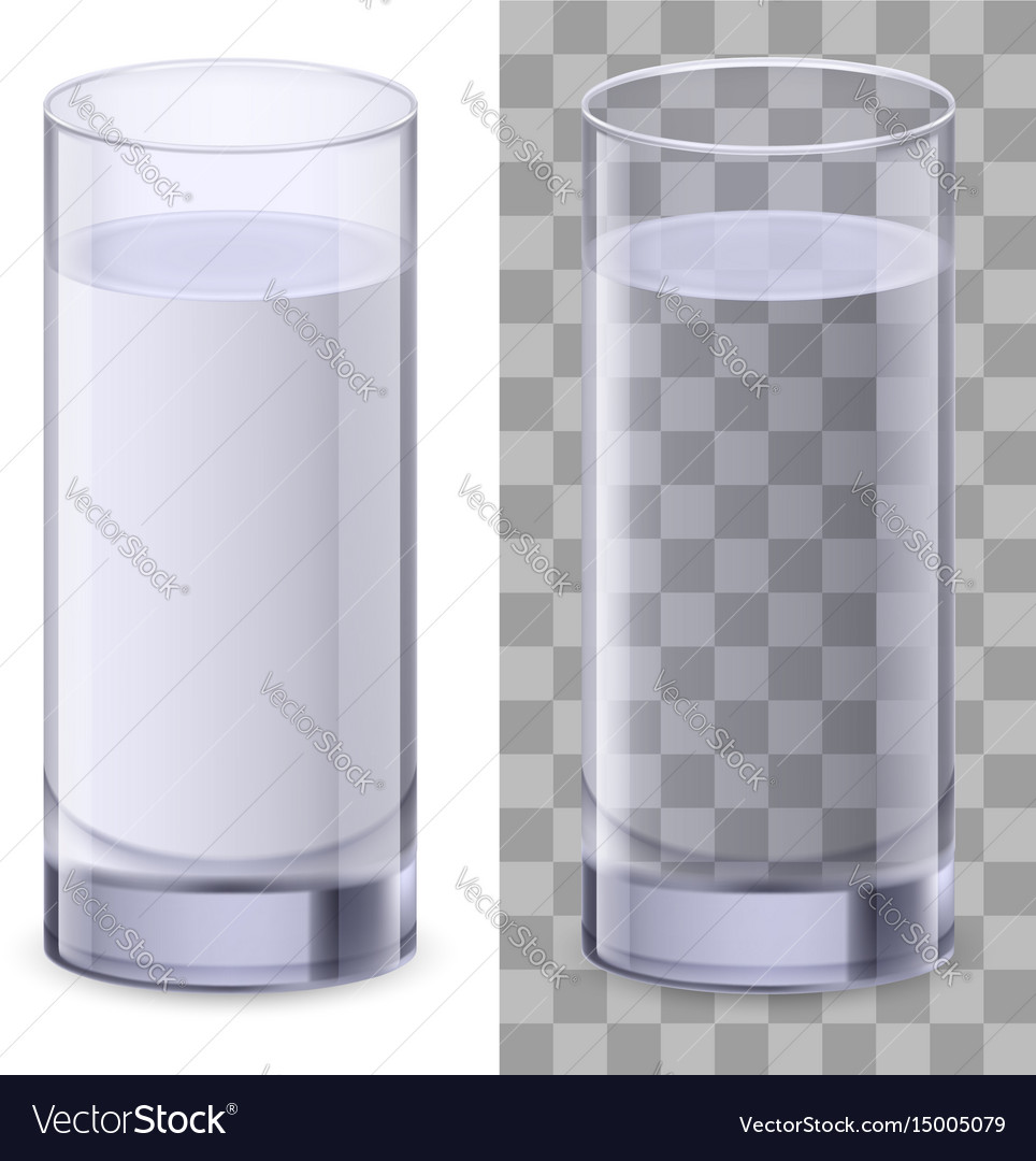 Two realistic glasses of water on white