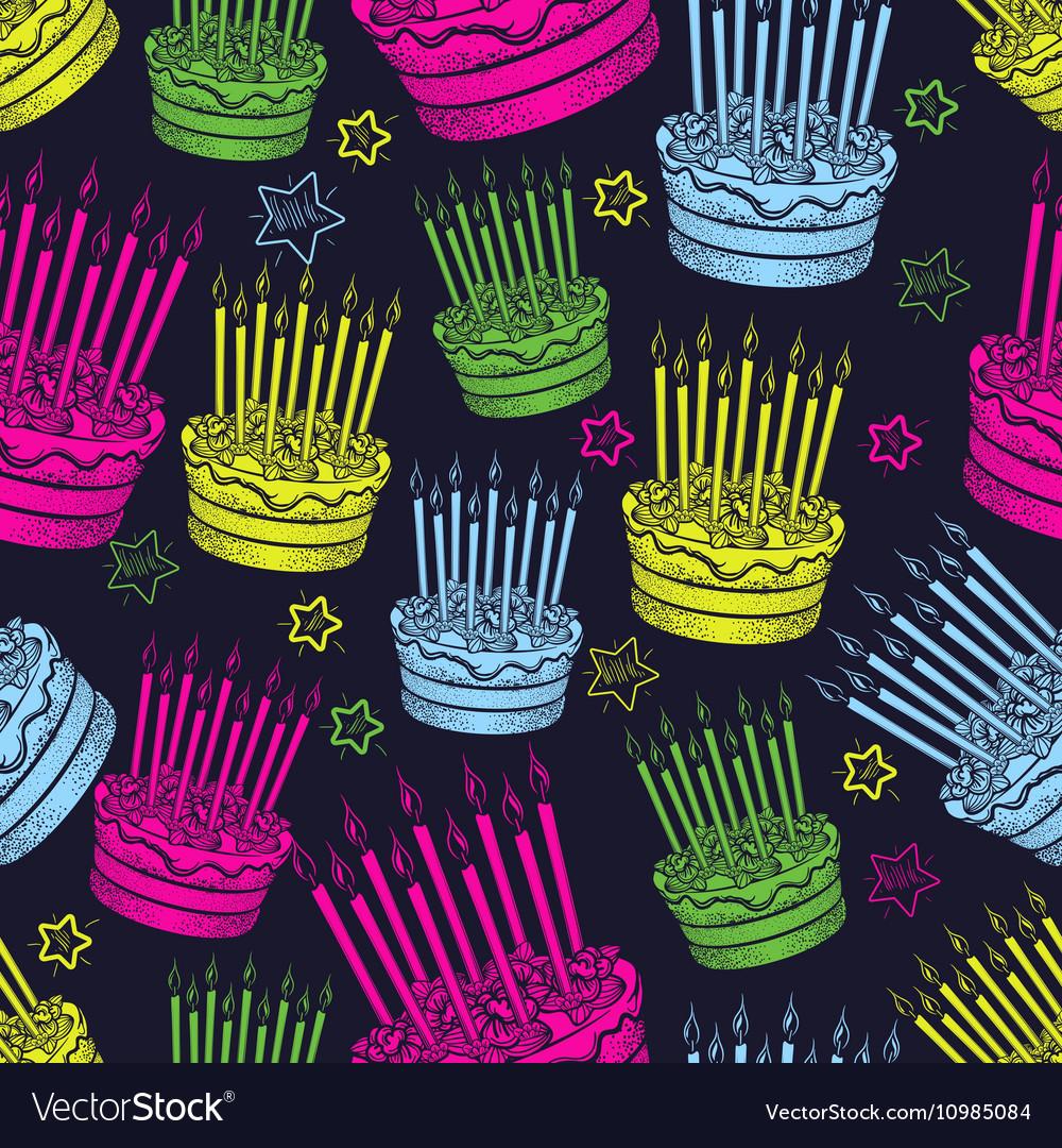 Birthday cake seamless pattern