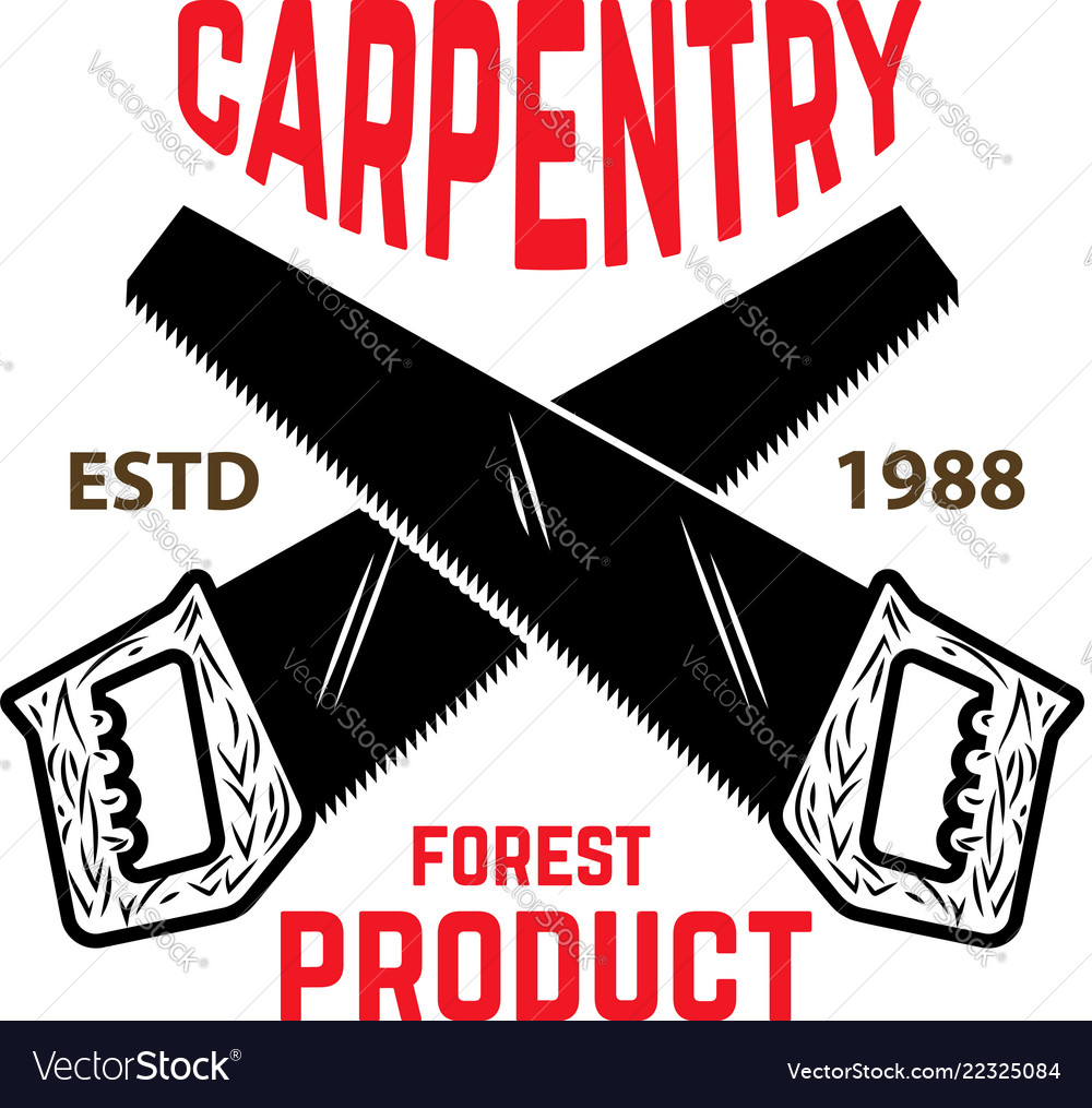 carpentry emblem template with crossed hand saw vector image