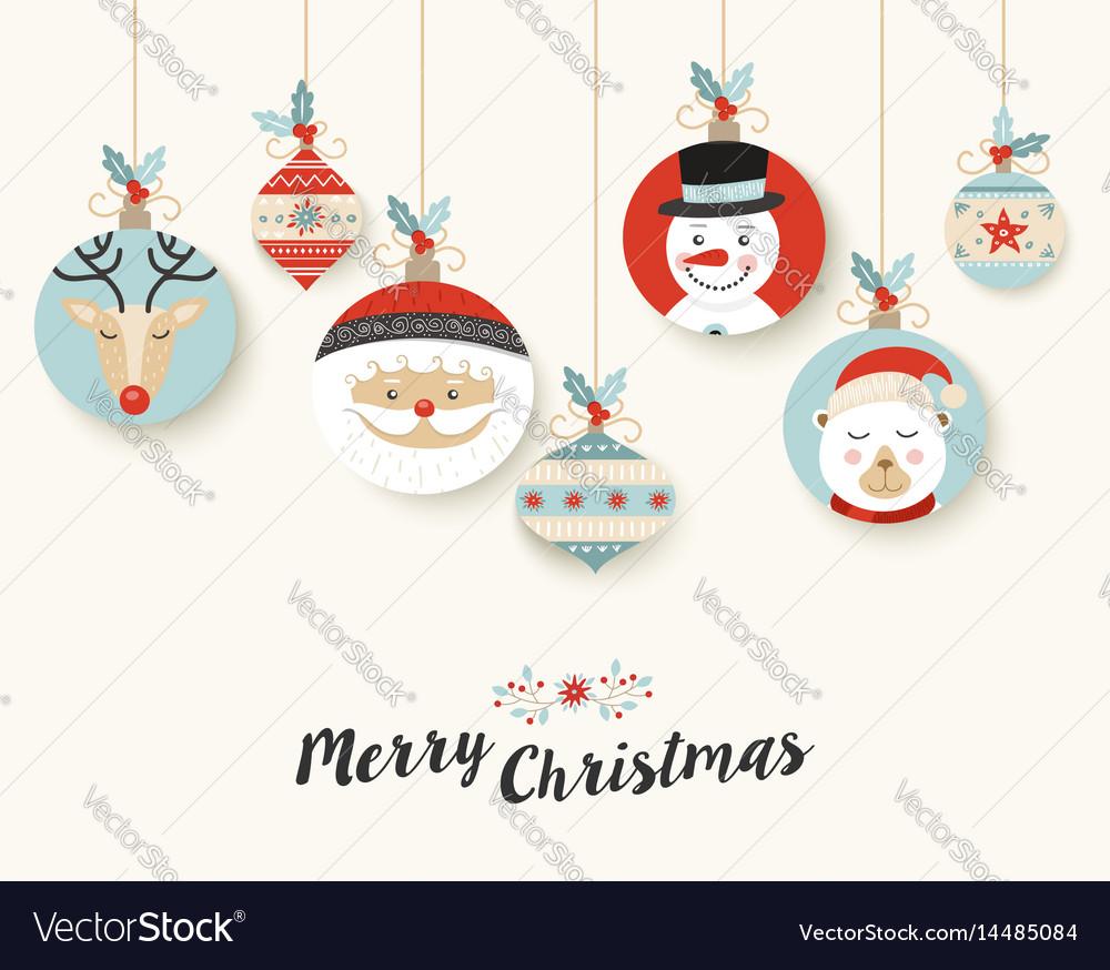 Cute merry christmas retro bauble greeting card