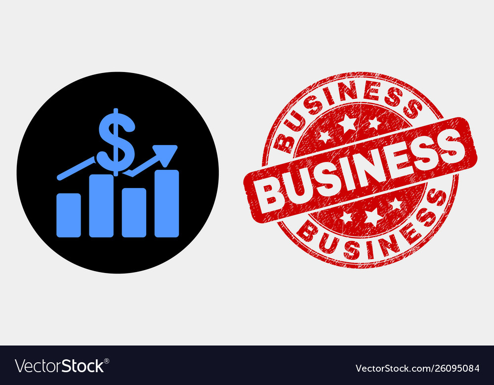 Dollar trends icon and grunge business seal