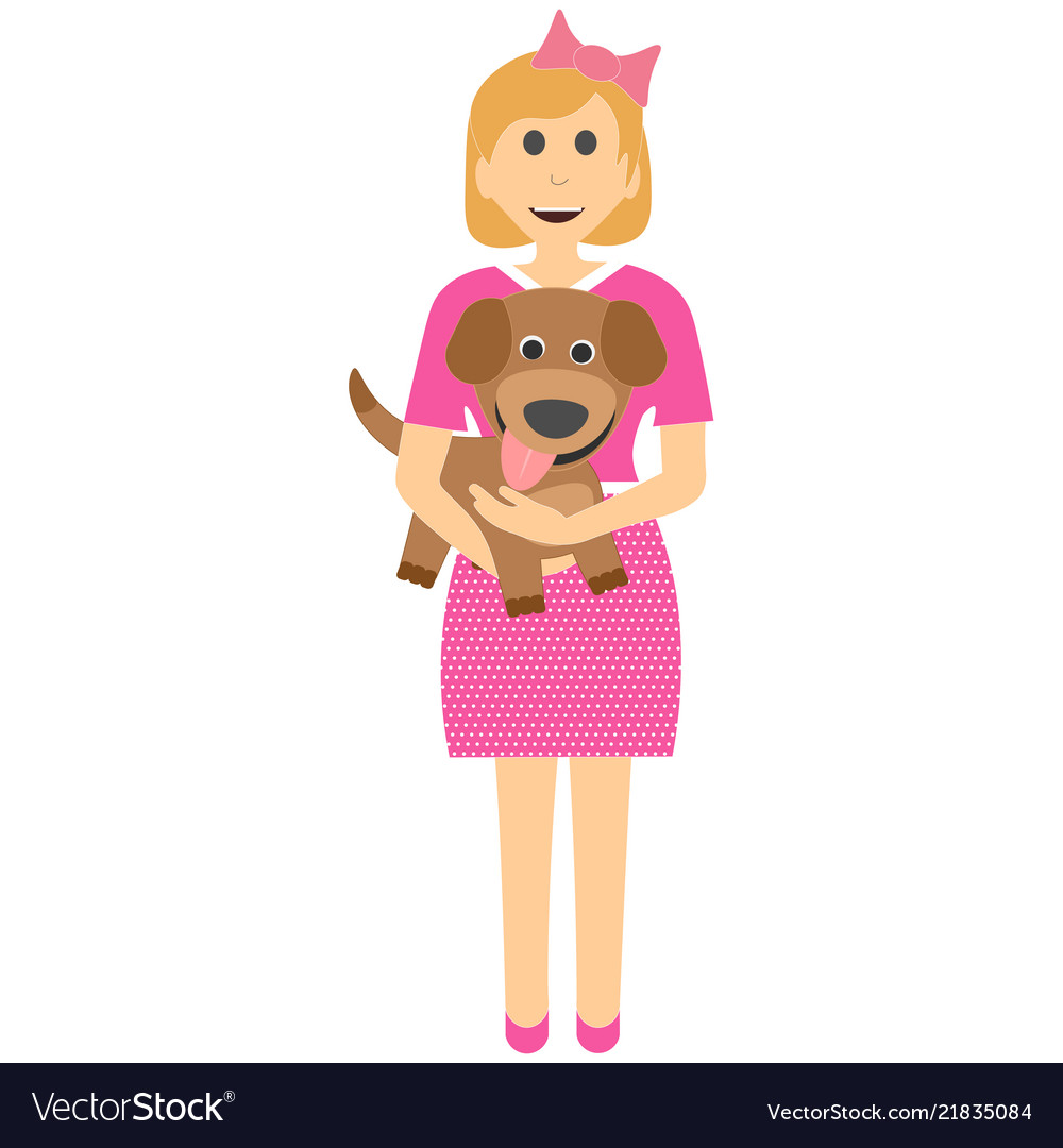 Female child with a puppy girl with dog in her