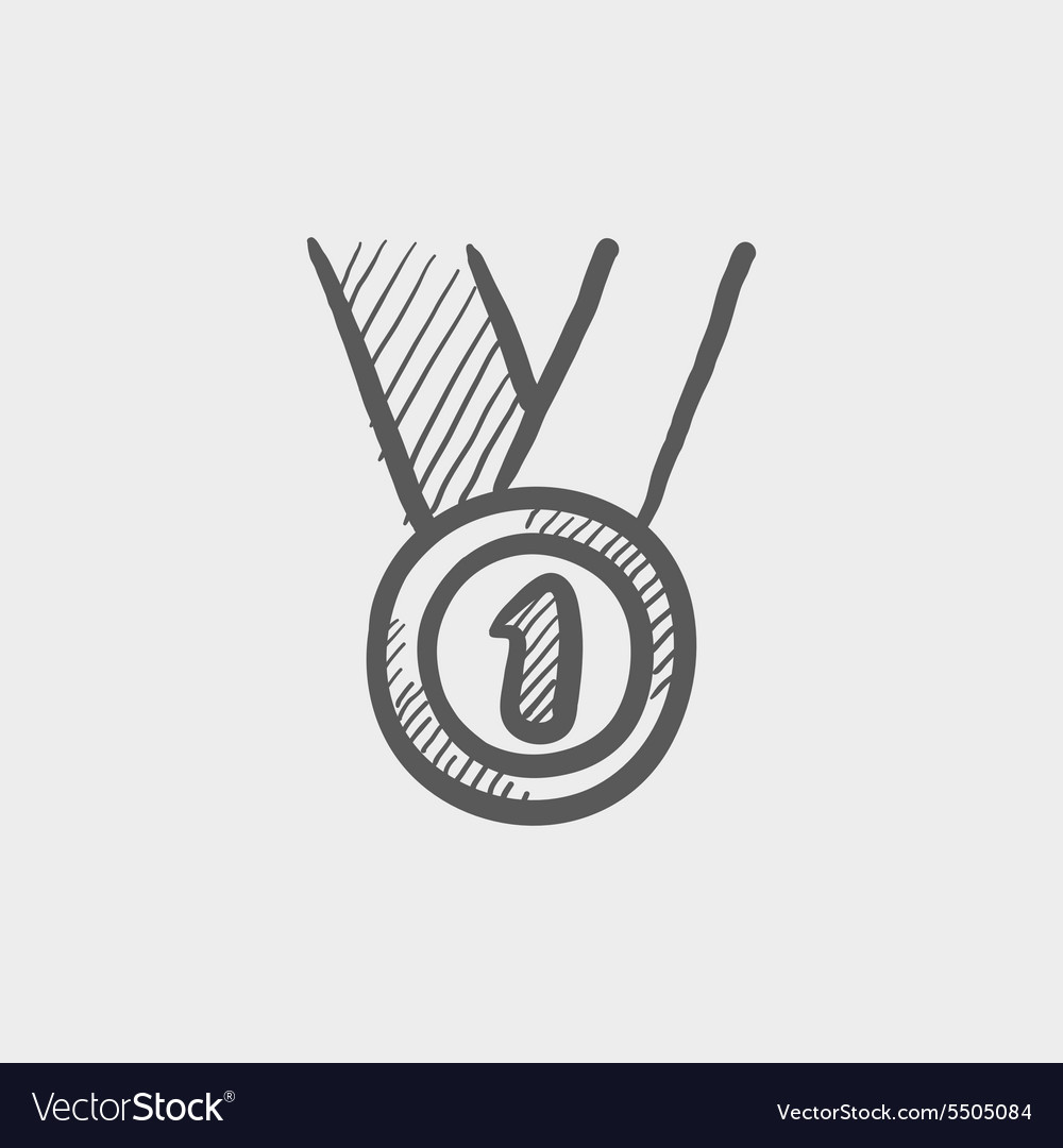 First place medal sketch icon vector image