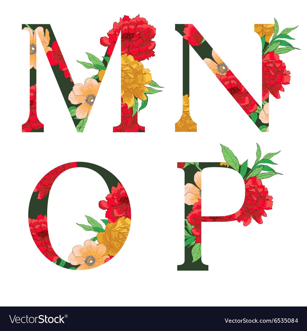 Flower colorful alphabet