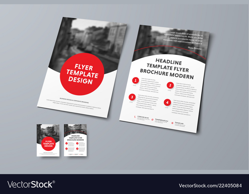 Flyer template with round red elements and place