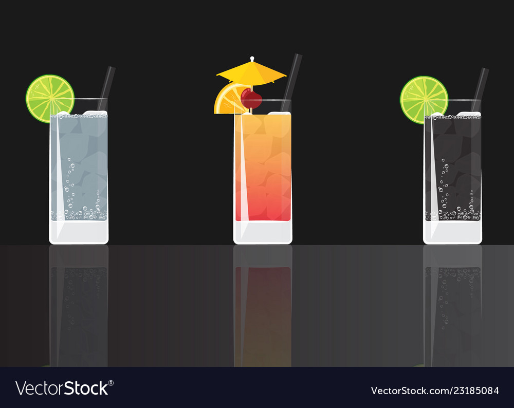 Gin tonic cocktail tequila sunrise and soda lime