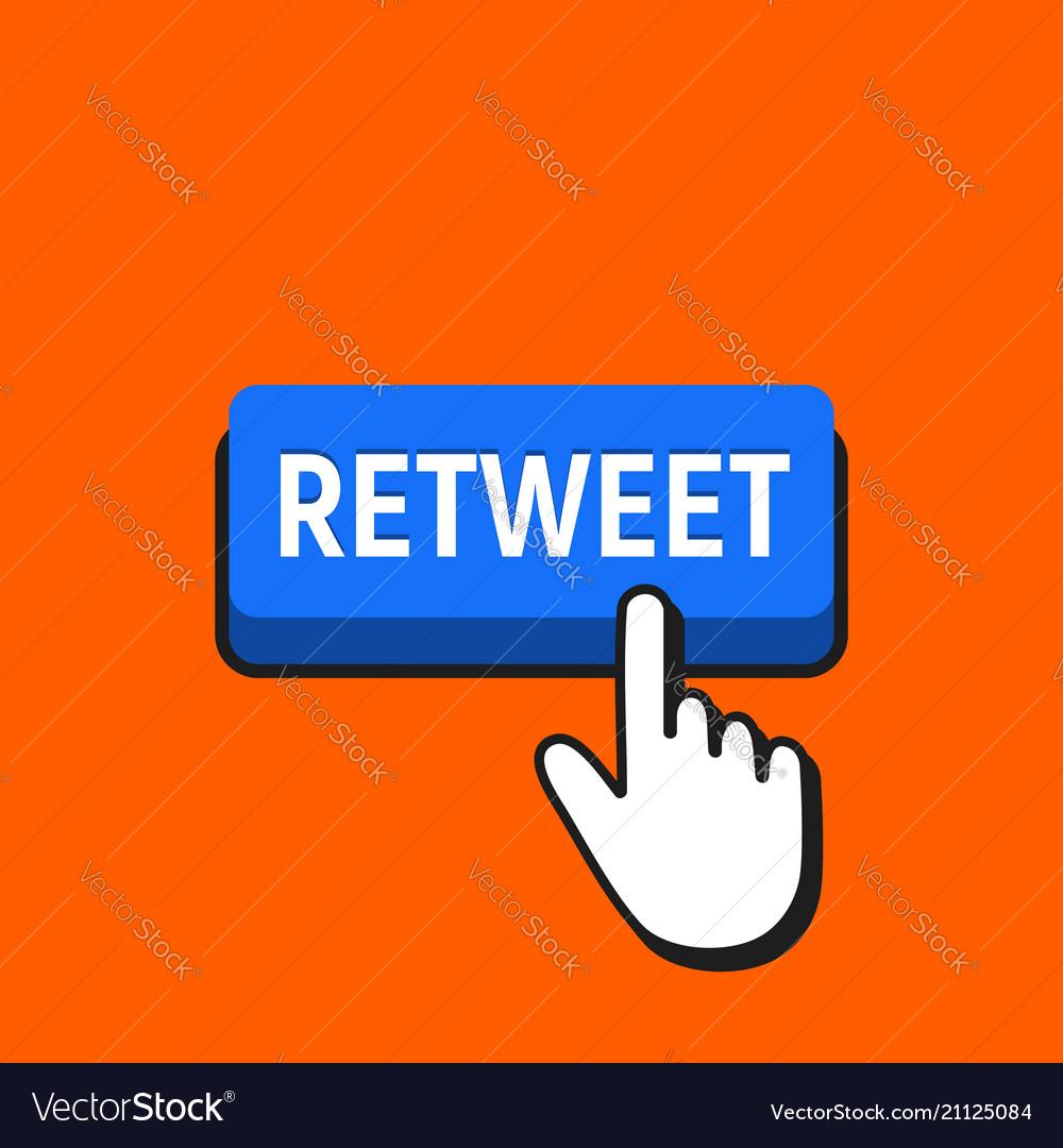 Hand mouse cursor clicks the retweet button