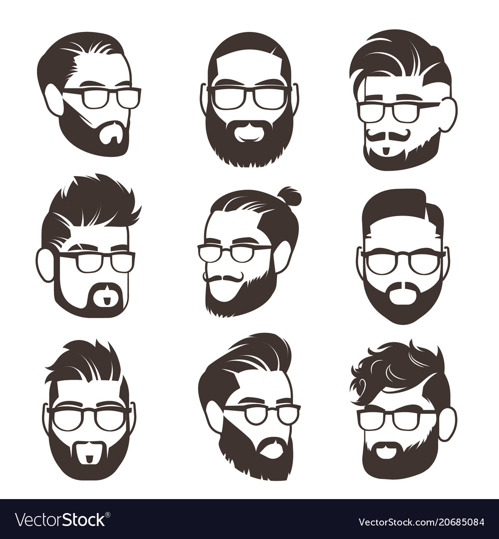 Handsome bearded hipster man faces with mustache