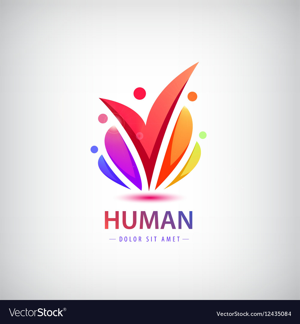 Human logo group of people colorful icon