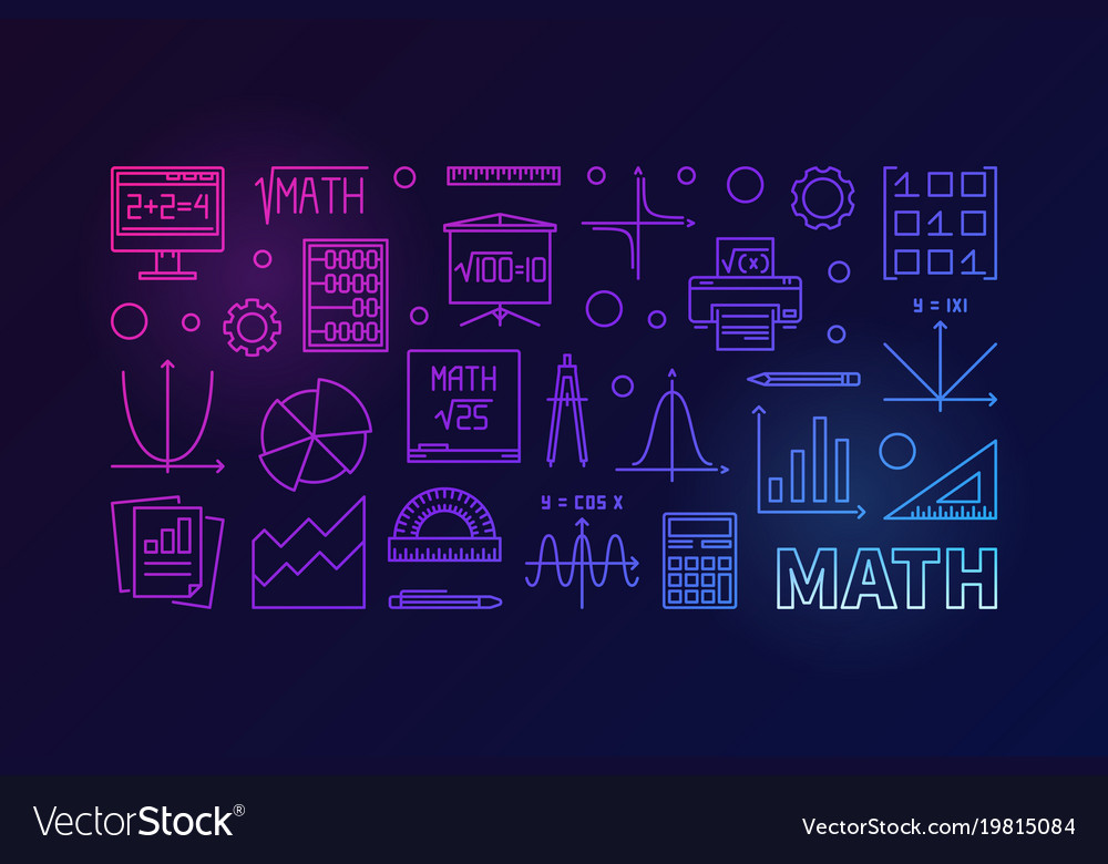 Math education colorful horizontal banner Vector Image