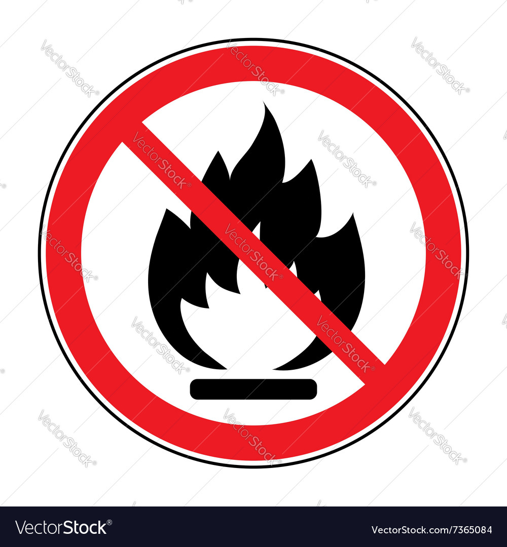 No fire open flame sign vector image