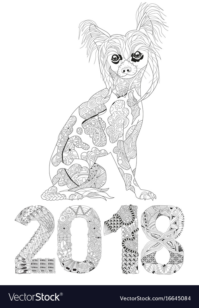 Number 2018 zentangle with dog decorative object