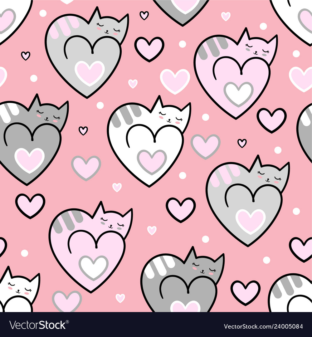 Seamless pattern cats hearts on a pink background