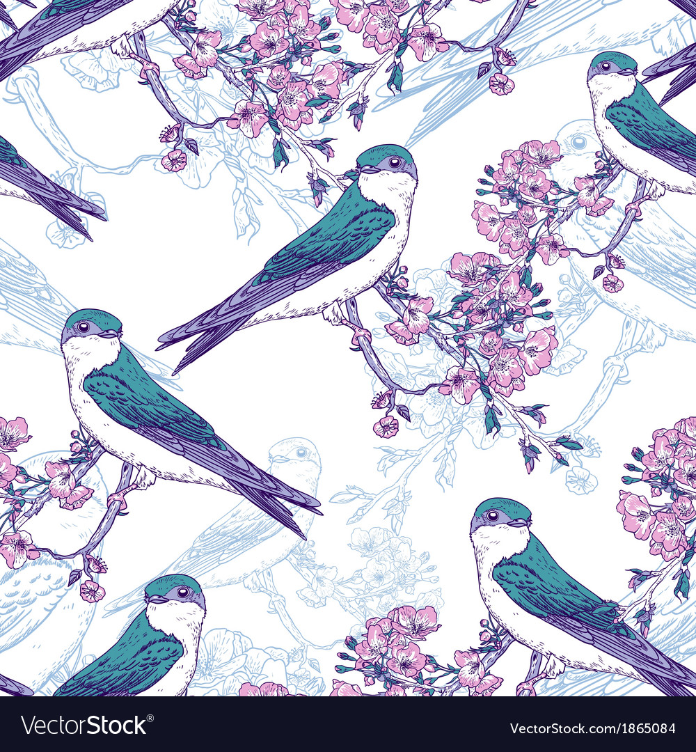 Seamless spring cherry pattern with birds vector image
