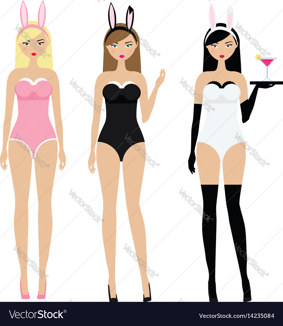 Sexy women in erotic bunny ears costumes adult vector image