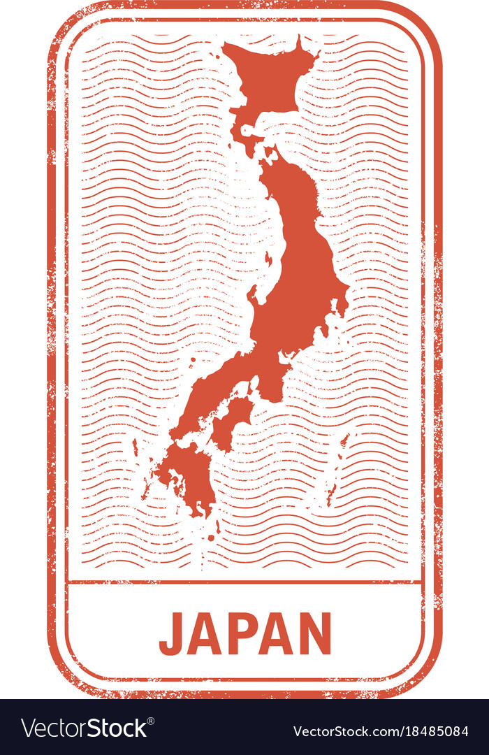 Stamp with contour of map of japan vector image