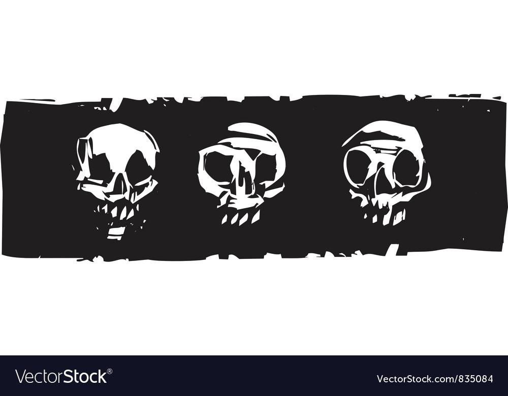 Three Human Skulls vector image