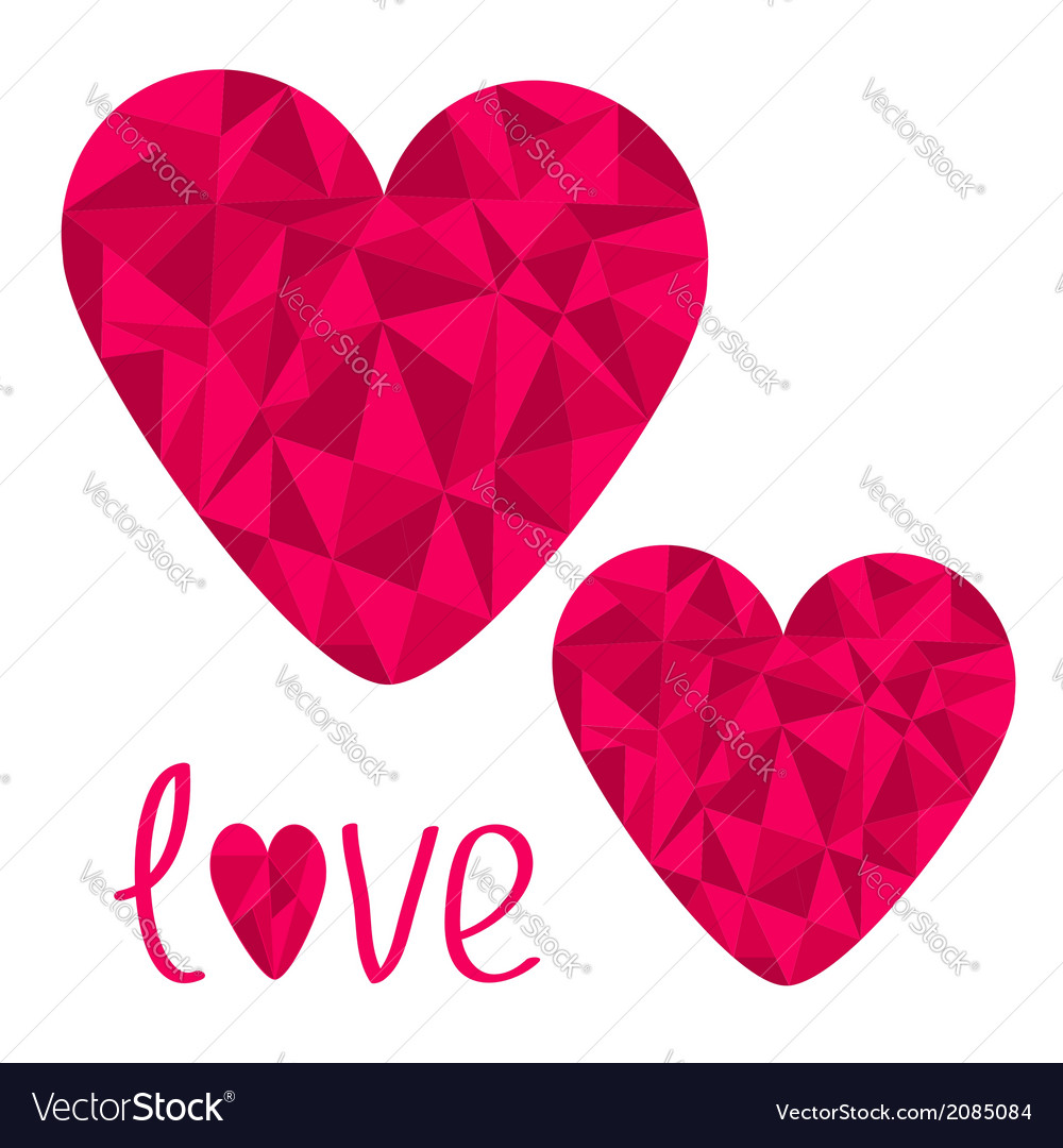 Two pink hearts Polygonal effect Love card Isolate