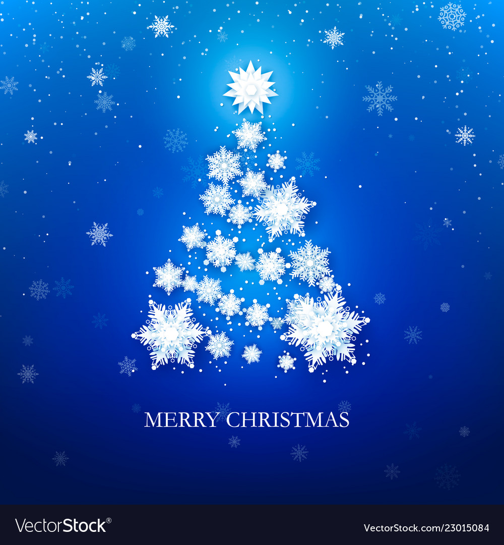 White snowflake christmas tree on blue background vector