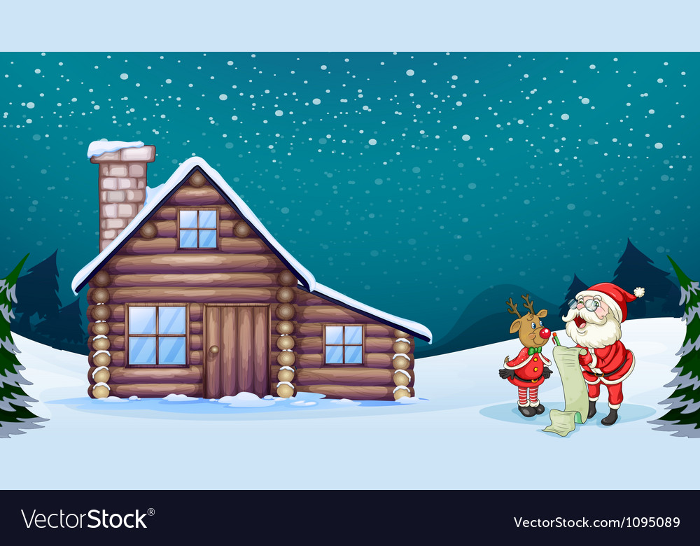 A santa claus and a reindeer vector image