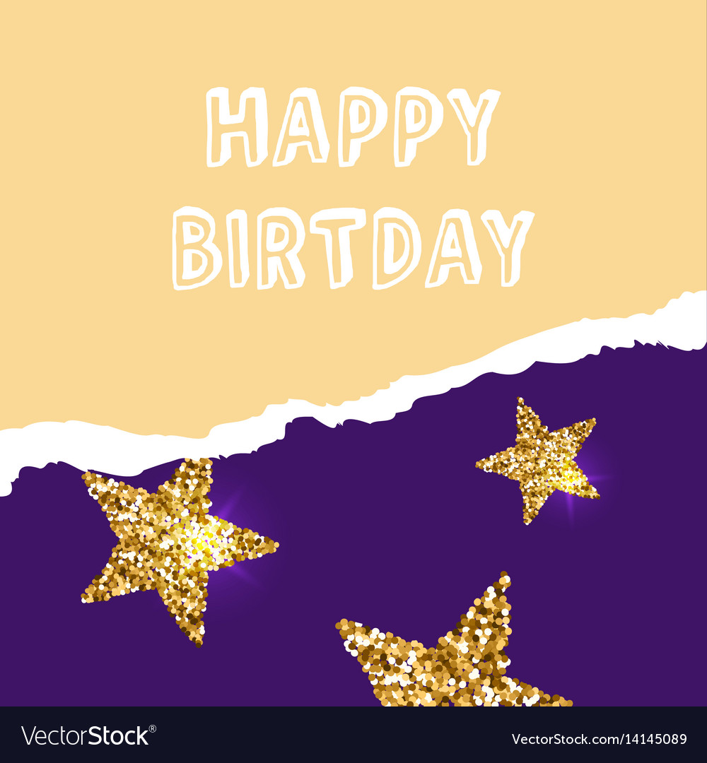 Birthday Greeting Cards With Gold Glitter Design Vector Image