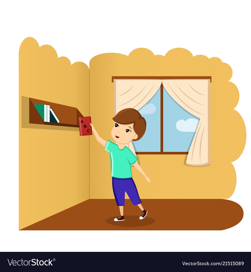 Boy with book in room a