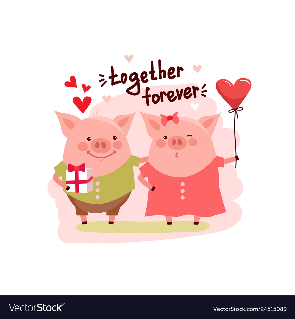 Cute cartoon pigs couple and text