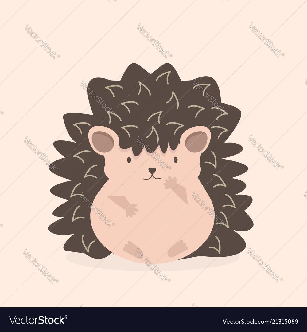Cute flat hedgehog cartoon character