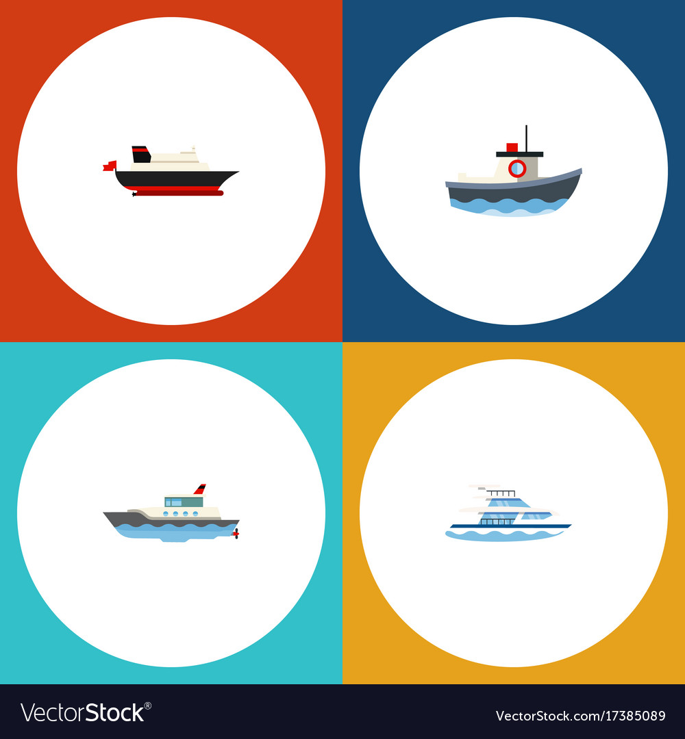 Flat icon boat set of boat sailboat cargo and