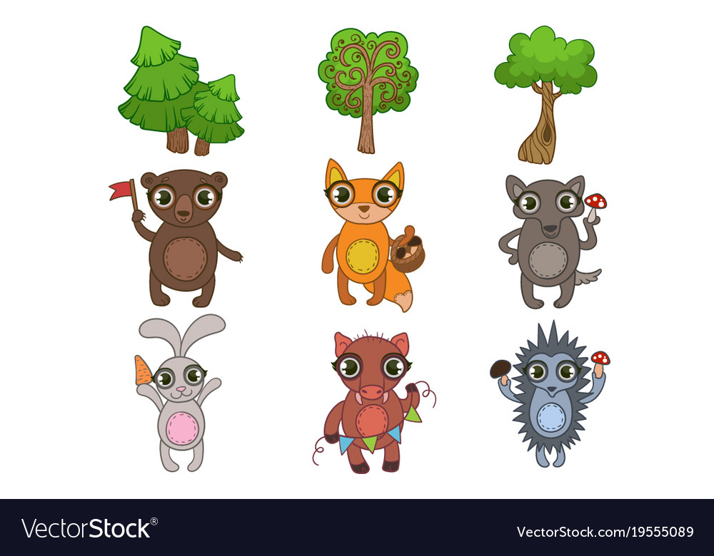Friendly forest animals set