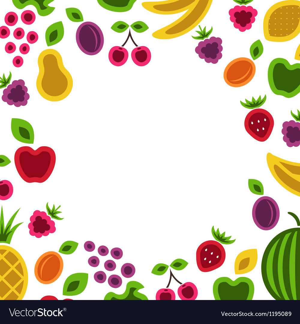 Fruits and berries frame composition